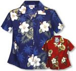 White Hibiscus Monstera Women's Fitted Blouse