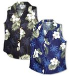 White Hibiscus Monstera Women's Sleeveless Blouse