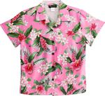White Plumeria Red Hibiscus women's rayon camp shirt