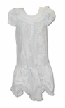 White Fancy Quilt Dress with Double White Bows