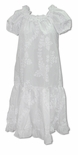 Fancy Ruffle White Quilt Lei Day Aloha Dress