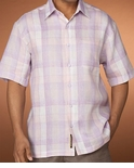 CLOSEOUT Purple Mood Cubavera 100% Textured Linen Men's Shirt