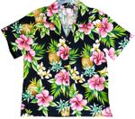 Pineapple Hibiscus women's cotton camp shirt