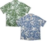 Woodcut Hawaiian men's soft peached cotton shirt