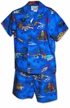 Woodie Fish Surfboard Boy's Cabana Set