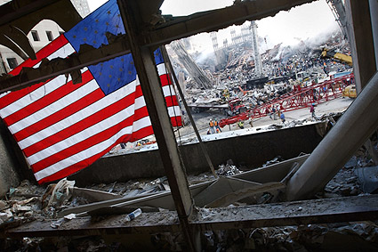 9/11 American Flag View of Ground Zero Photo Print
