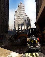 9/11 FDNY Firefighter at World Trade Center Photo Print for Sale