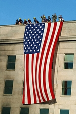 9/11 Firefighter Flag on Pentagon Photo Print