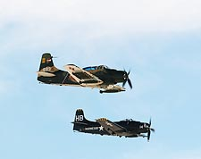 A-1 Skyraider Aircraft Pair in Flight Photo Print for Sale