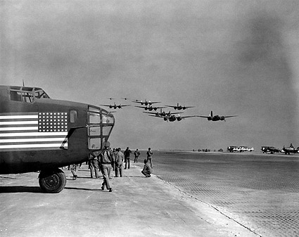 A-20 Havoc Fly-By w/ B-24 in Pacific WWII Photo Print