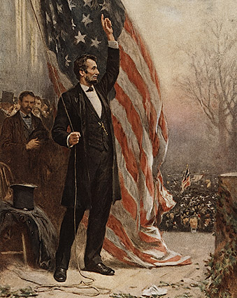 Abraham Lincoln with American Flag Painting Photo Print