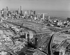 Aerial View of Railroad Bridges in Chicago Photo Print for Sale