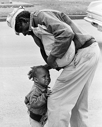 African American Man w/ Crying Child Candid Photo Print