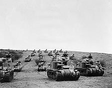American Tanks & Troops in England WWII Photo Print for Sale