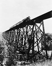 Antique Steam Train on Trestle Bridge 1946 Photo Print for Sale