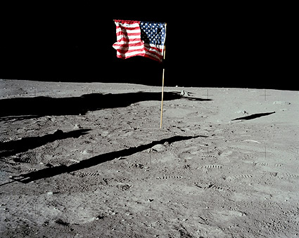 Apollo 11 American Flag on Moon Surface Photo Print