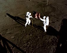 Apollo 11 Armstrong & Aldrin w/ US Flag Photo Print for Sale