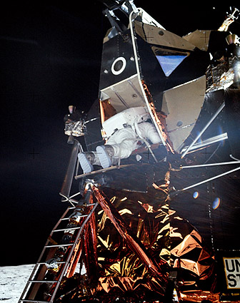 Apollo 11 Buzz Aldrin Exiting Lunar Module Photo Print