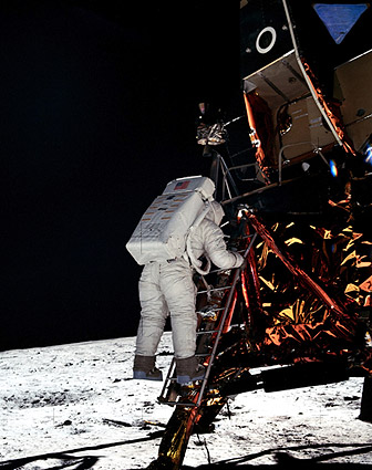 Apollo 11 Buzz Aldrin on Lunar Ladder Photo Print