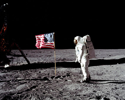 Apollo 11 Buzz Aldrin w/ Flag on Moon Photo Print