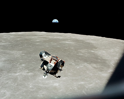 Apollo 11 Lunar Module, Moon and Earth Photo Print