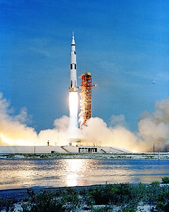 Apollo 11 Saturn V Launch w/ Reflection Photo Print