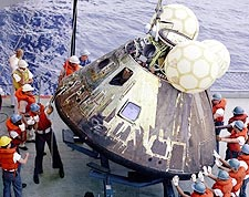 Apollo 13 Command Module on USS Iwo Jima Photo Print for Sale