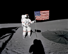Apollo 14 Alan Shepard Flag on Moon Photo Print