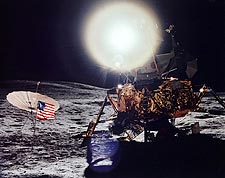 Apollo 14 Flag & Lunar Module on Moon NASA Photo Print for Sale