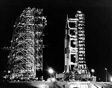 Apollo 14 Saturn V Rocket at Night NASA Photo Print for Sale