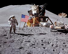Apollo 15 James Irwin Flag Salute on Moon Photo Print for Sale