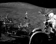 Apollo 15 NASA Astronaut David Scott with Lunar Rover Photo Print for Sale