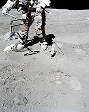 Apollo 16 Astronaut John Young Collects Lunar Sample Photo Print for Sale