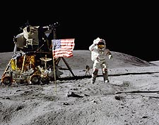 Apollo 16 John Young Jumping Salute on Moon Photo Print for Sale