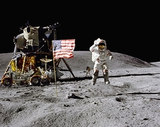 Apollo 16 John Young Jumping Salute on Moon Photo Print