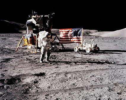Apollo 17 Astronaut Eugene Cernan & Flag Photo Print