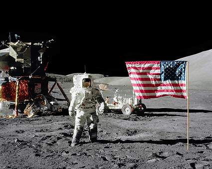 Apollo 17 Astronaut Harrison Schmitt & Flag Photo Print