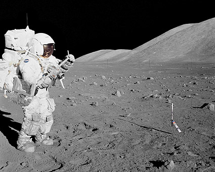 Apollo 17 Astronaut Harrison Schmitt & Moon Photo Print
