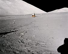 Apollo 17 Astronaut Shadow & LM on Moon Photo Print for Sale