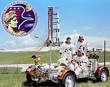 Apollo 17 Crew with Moon Rover & Saturn V Photo Print for Sale