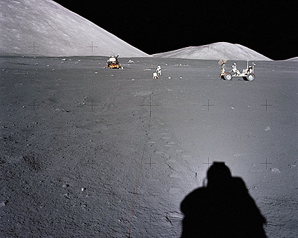 Apollo 17 Distant View of Rover and LM Photo Print