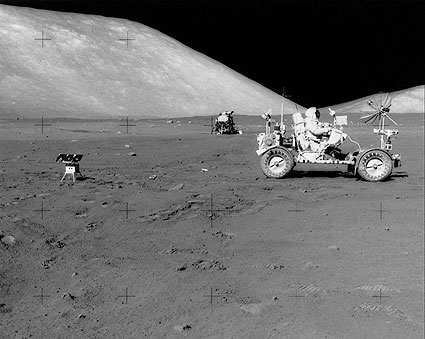 Apollo 17 Eugene Cernan Driving Lunar Rover Photo Print