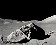 Apollo 17 Harrison Schmitt with Tracy's Rock on Moon Photo Print for Sale