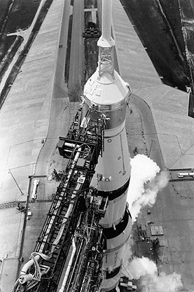 Apollo Saturn V Space Rocket on Launchpad Photo Print