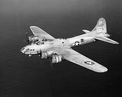 B-17 / B-17F in Flight from Above WWII Photo Print