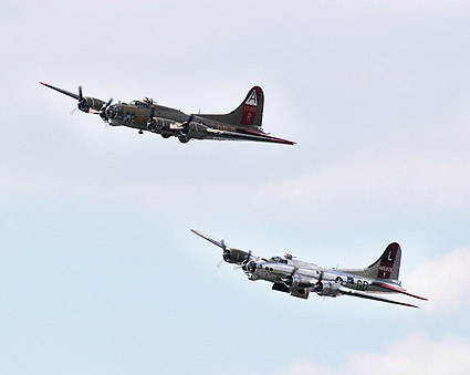 B-17 Flying Fortress WWII Bombers in Flight Photo Print