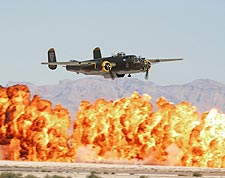 B-25 Mitchell WWII Bomber w/ Wall of Fire Photo Print for Sale