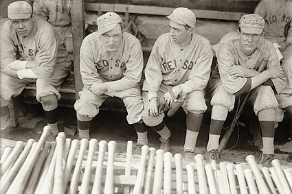 Babe Ruth and Fellow Red Sox in Dugout Photo Print