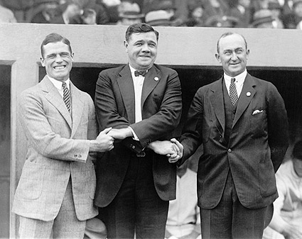 Babe Ruth & Ty Cobb Shaking Hands Photo Print