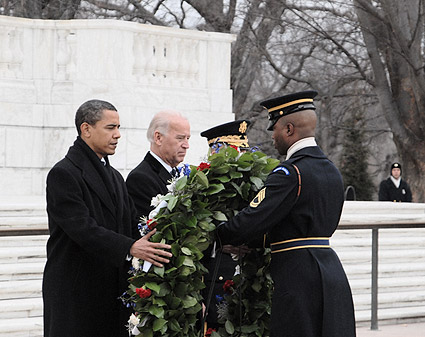 Barack Obama and Joe Biden at Tomb of the Unknown Soldier Photo Print